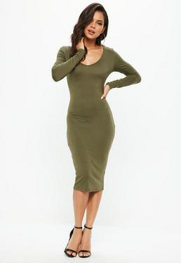 Khaki Long Sleeve Midi Dress