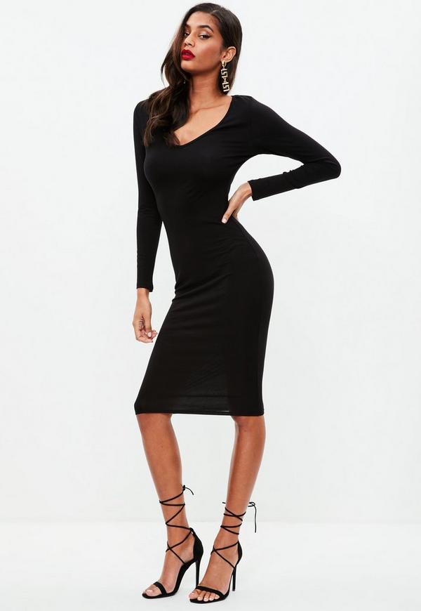 Black Long Sleeve Midi Dress Missguided