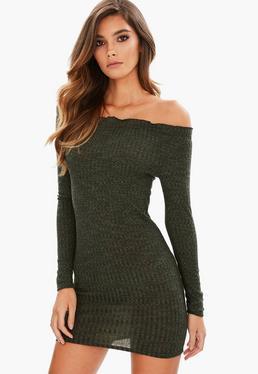 Khaki Bardot Ribbbed Bodycon Dress