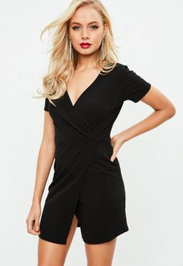 Black Wrap Front Bodycon Dress