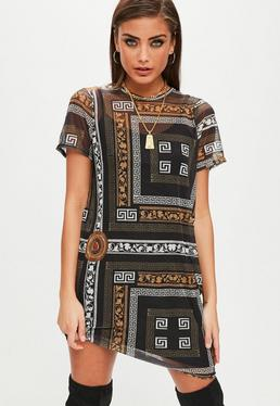 Black Mesh Short Sleeve T-shirt dress