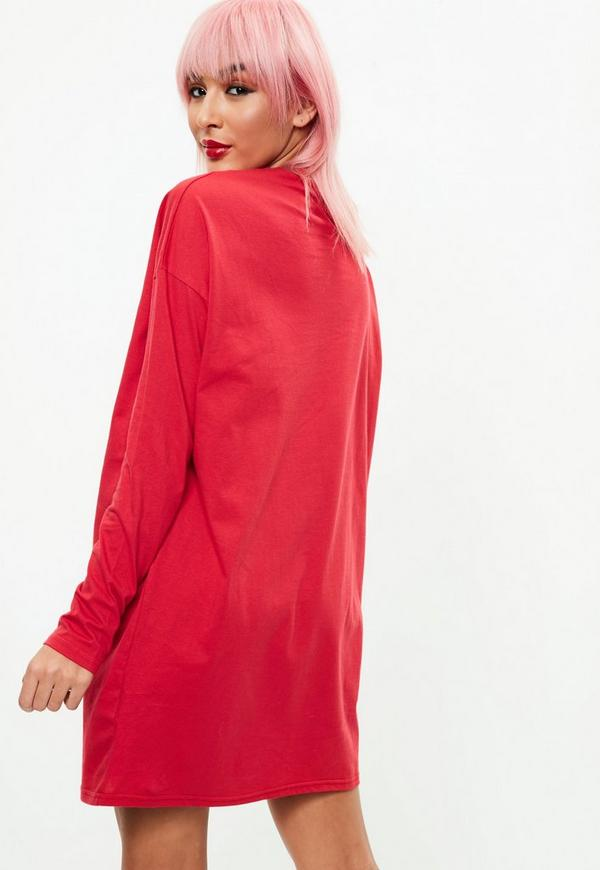 Red Long Sleeve New Orleans T Shirt Dress Missguided