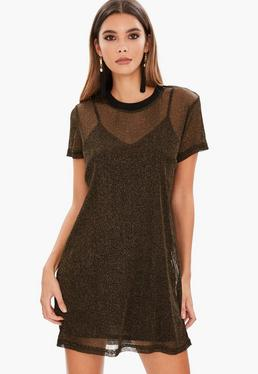 Gold Mesh Oversized T Shirt Dress