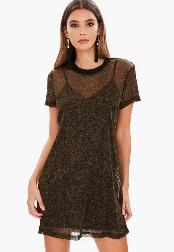 Gold Mesh Oversized T Shirt Dress Missguided