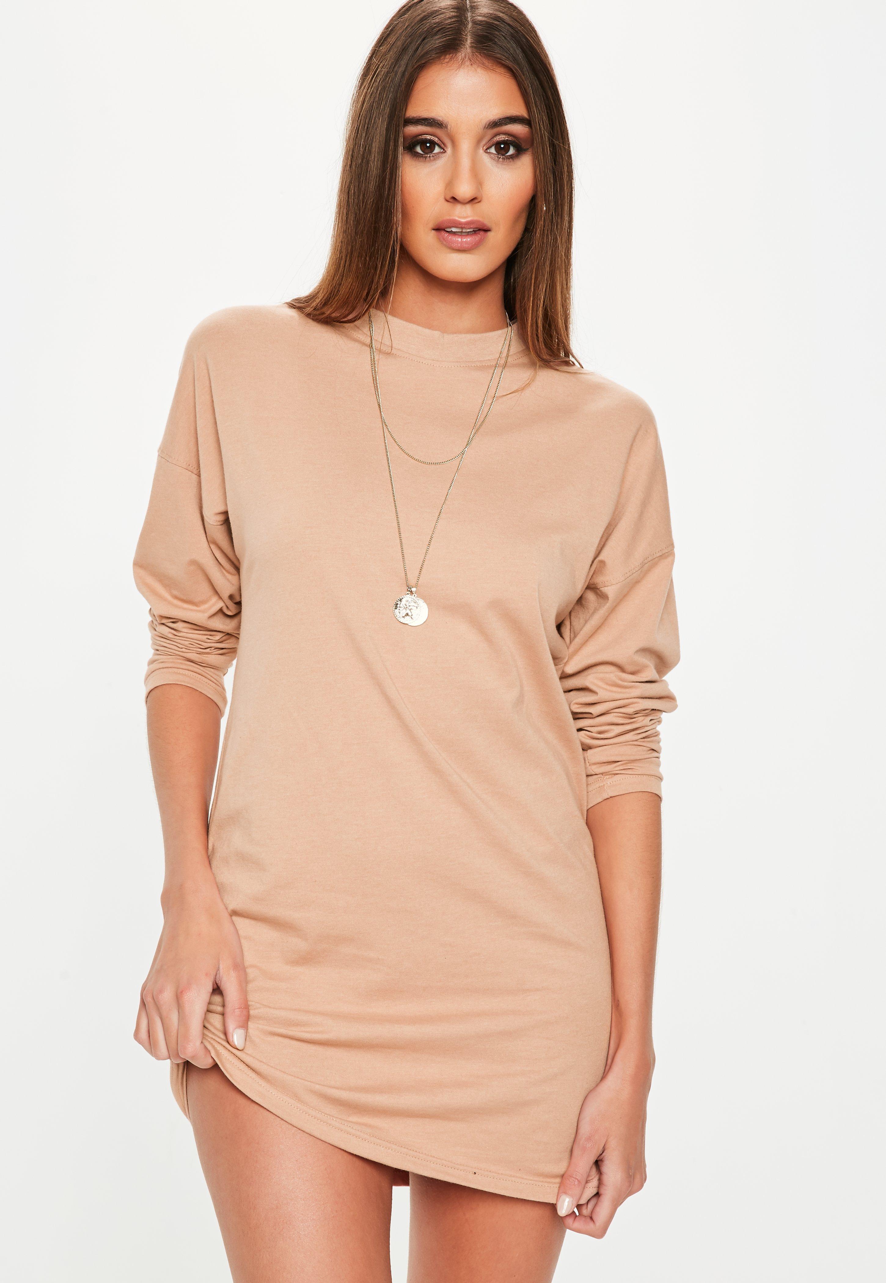 8d8e7171729b Nude Long Sleeve Plain T Shirt Dress