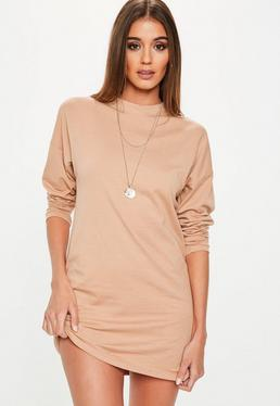 Nude Long Sleeve Plain T Shirt Dress