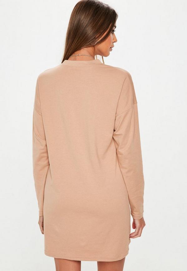 01bb2daa9d ... Nude Long Sleeve Plain T Shirt Dress. Previous Next