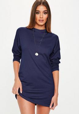 Navy Long Sleeve T Shirt Dress