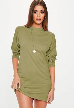 Khaki Long Sleeve Tshirt Dress