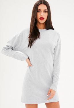 Gray Long Sleeve Tshirt Dress