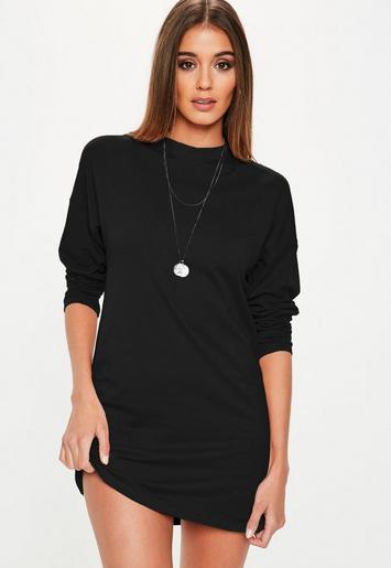 Black Long Sleeve T Shirt Dress Missguided