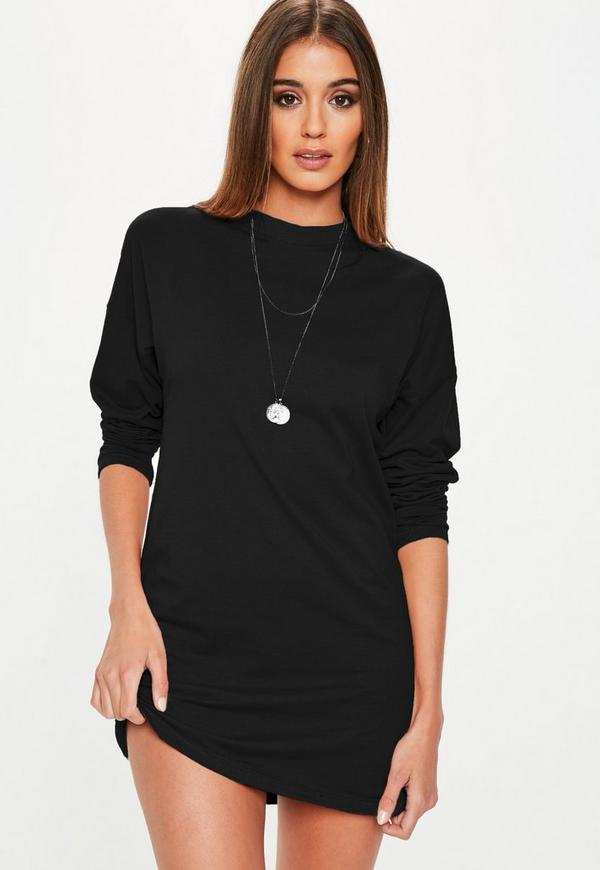 black long sleeve t shirt dress missguided