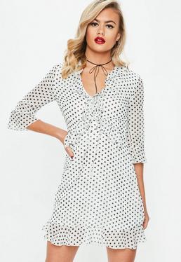 White Polka Dot Ruffle Shift Dress