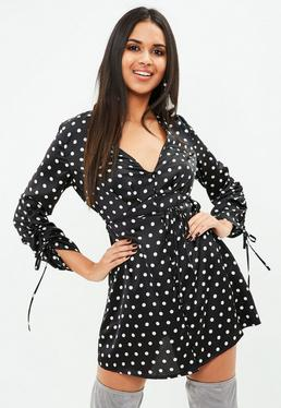Polka Dot Long Sleeve Satin Shift Dress