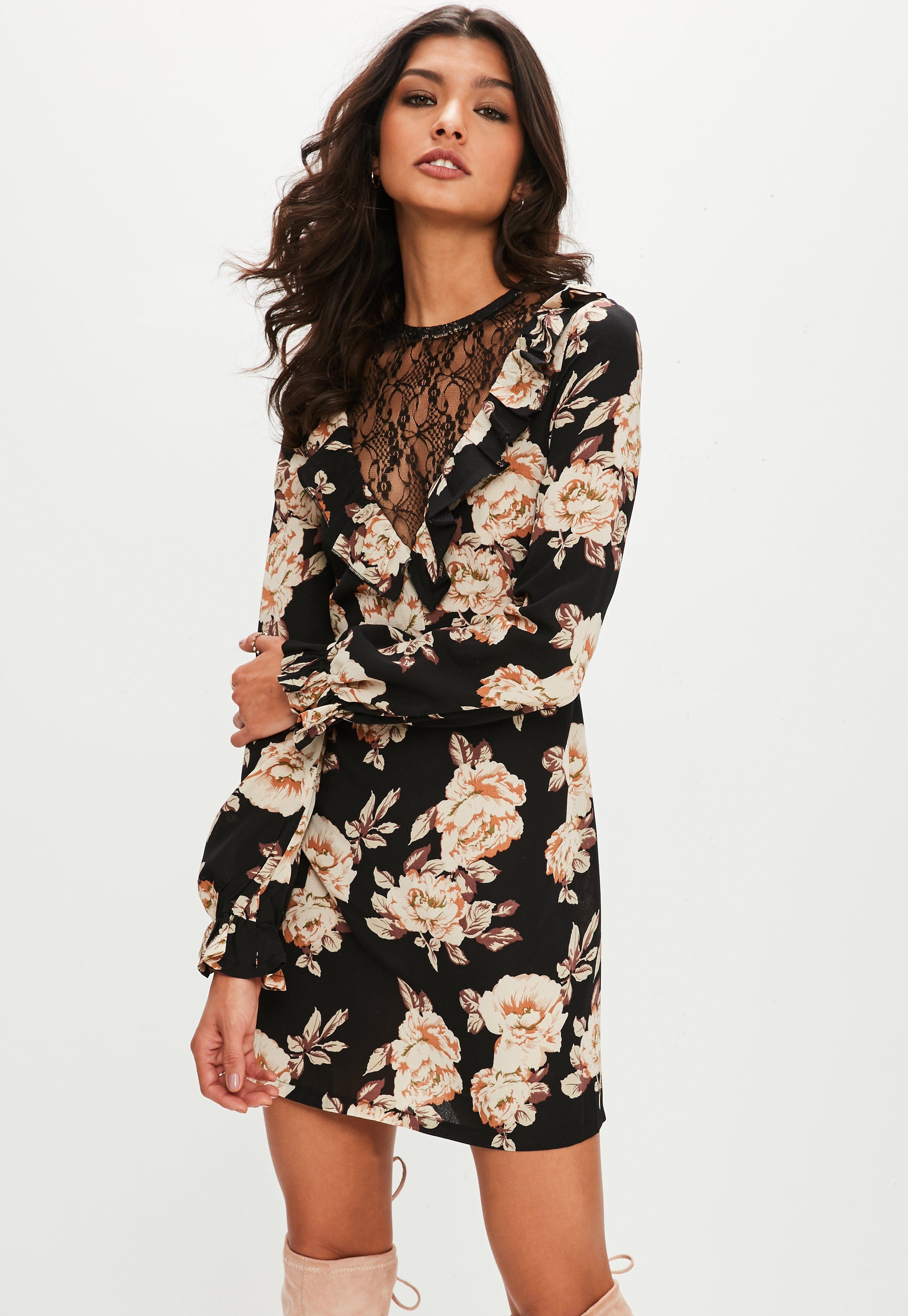 Black long lace dresses