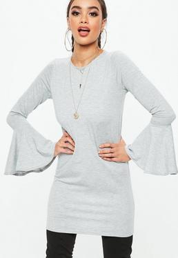 Grey Frill Sleeve Shift Dress