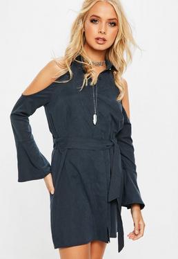 Navy Cold Shoulder Shirt Dress