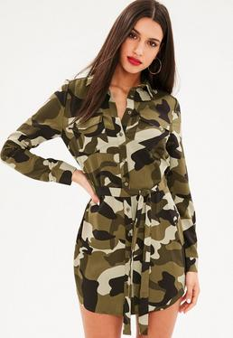 Khaki Camo Tie Waist Shirt Dress