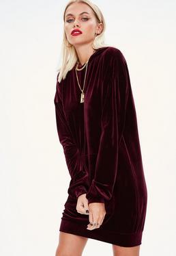 Vestido sudadera de velvetón en burdeos