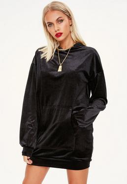 Vestido sudadera de velvetón en negro