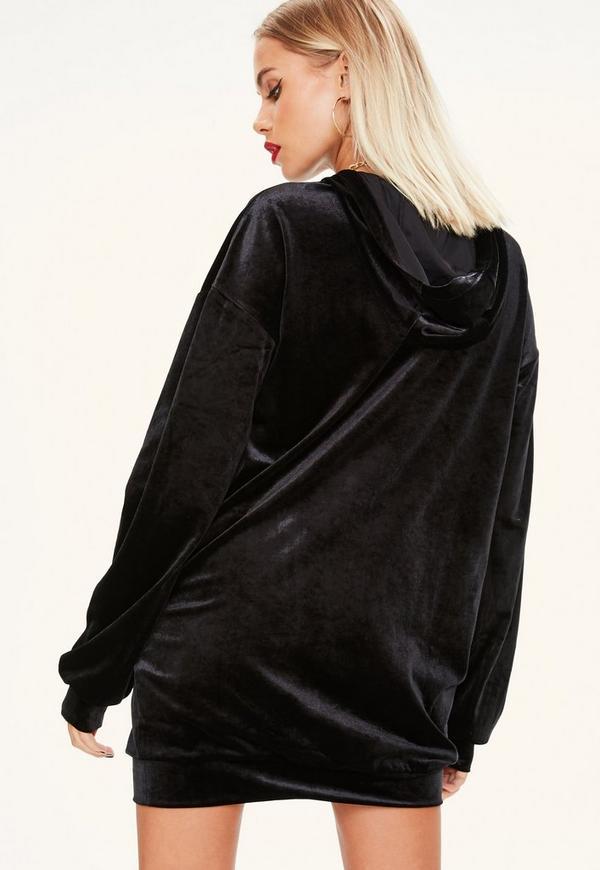 Black Velour Hooded Sweater Dress Missguided