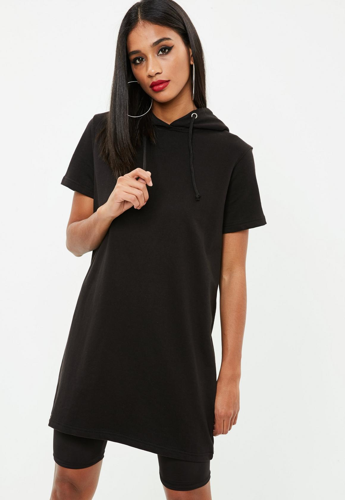 Black Short Sleeve Hooded Sweater Dress | Missguided