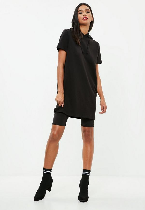 Black Short Sleeve Hooded Sweater Dress | Missguided Ireland
