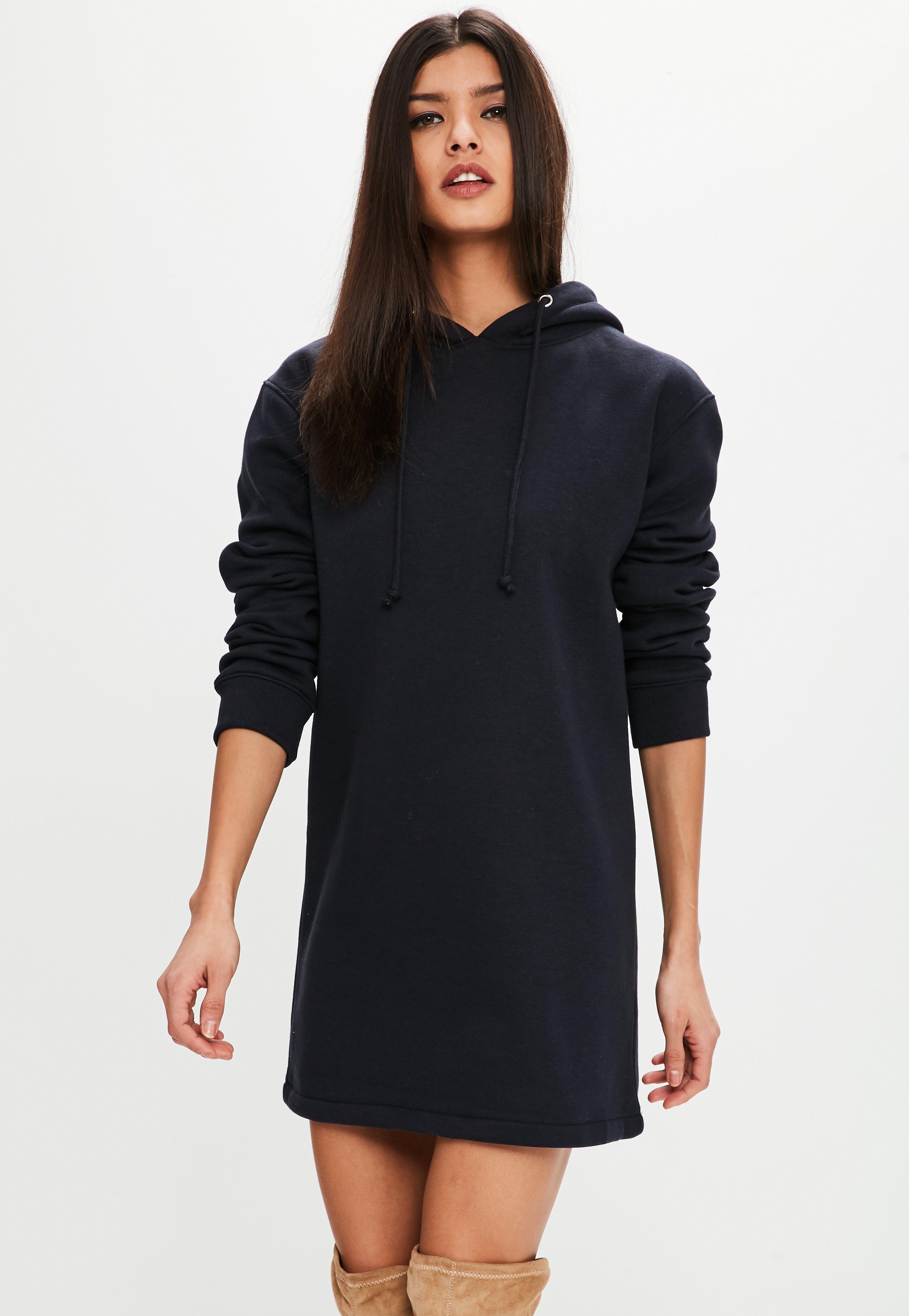 2d6bc1ba06 Navy Long Sleeve Hooded Sweater Dress
