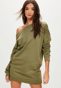 Khaki Off The Shoulder Sweater Dress