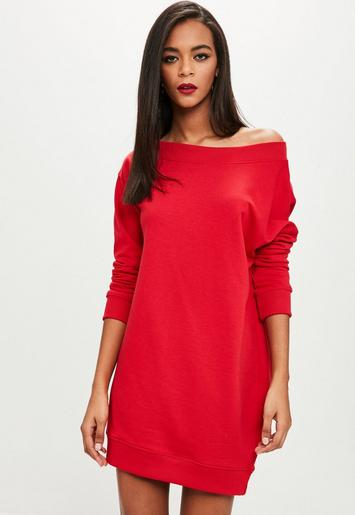 Red Off The Shoulder Sweater Dress Missguided