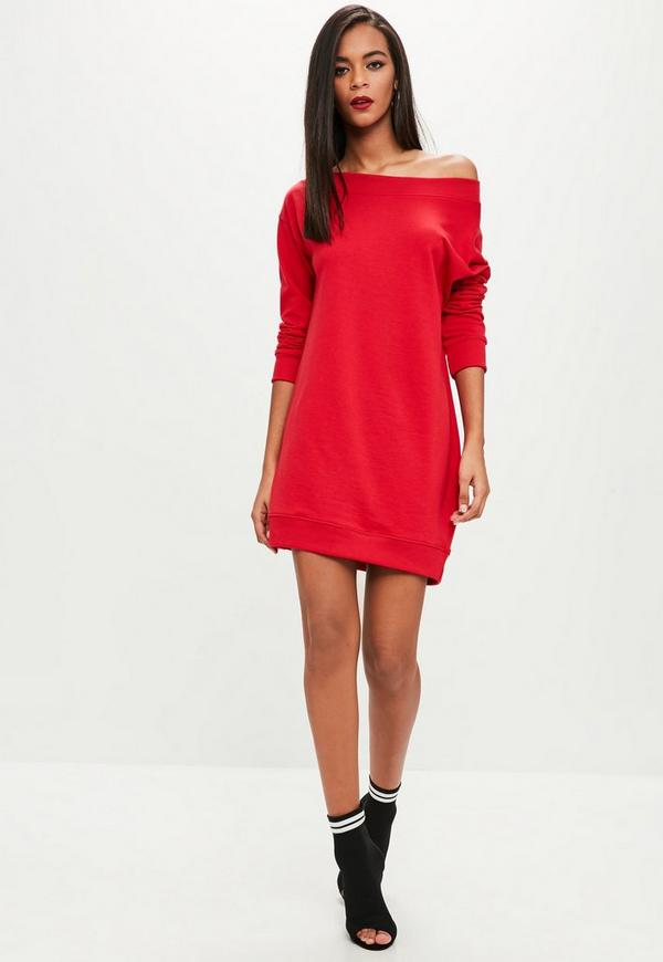 Red Off The Shoulder Sweater Dress | Missguided