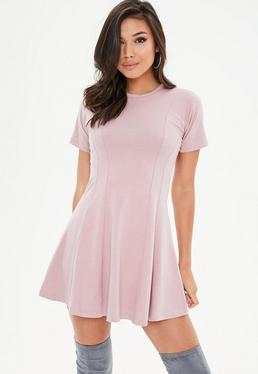 Pink Short Sleeve Fitted Skater Dress