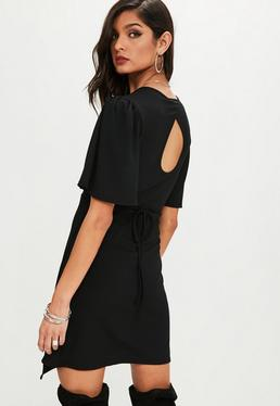 Black Wrap Belted Skater Dress