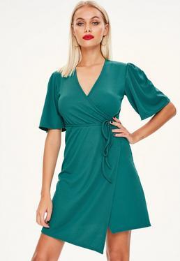 Green Ribbed Skater Dress