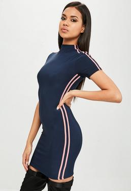 Carli Bybel x Missguided Navy Stripe Slinky Dress