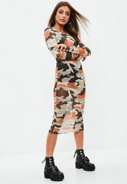 Brown Camo Long Sleeve Midi Dress