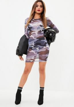 Purple Camo Long Sleeve Midi Dress