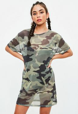 Khaki Mesh Camo Short Sleeve Midi Dress