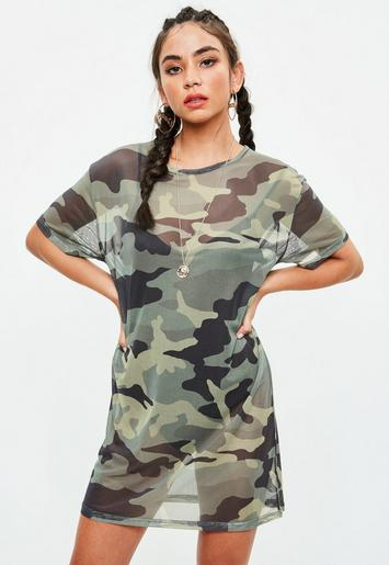 Khaki Mesh Camo Short Sleeve Mini Dress Missguided
