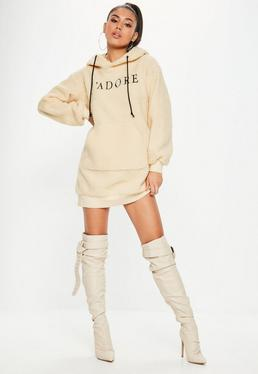 Nude Long Sleeve Sweater Dress