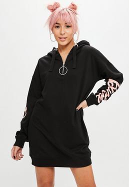 Barbie x Missguided Black Hooded Sweat Dress