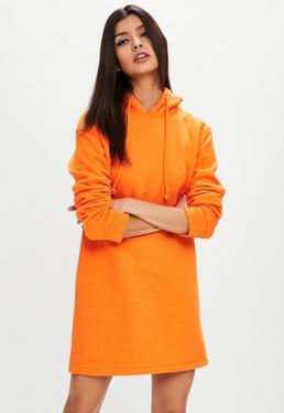 Vestido sudadera con capucha de manga larga en naranja