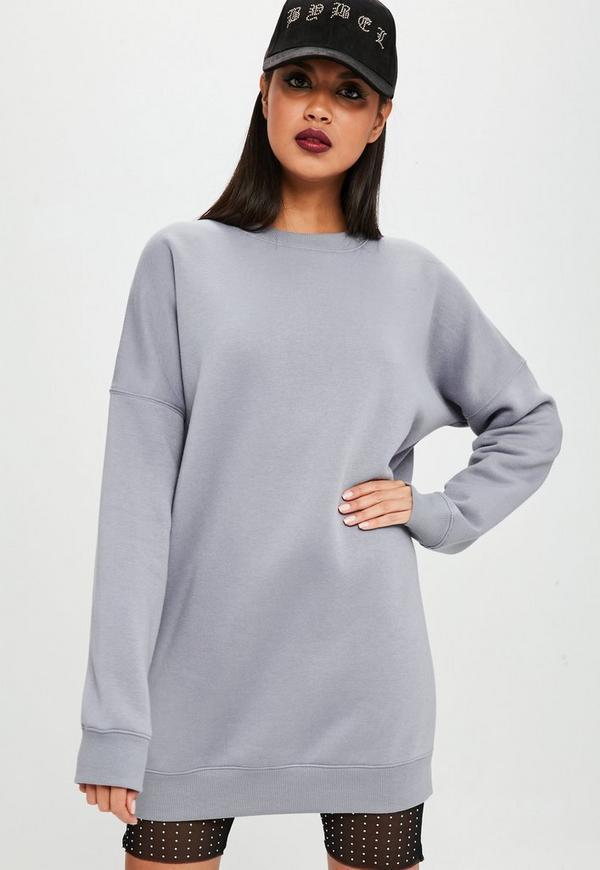 Carli Bybel X Missguided Gray Oversized Sweatshirt Dress