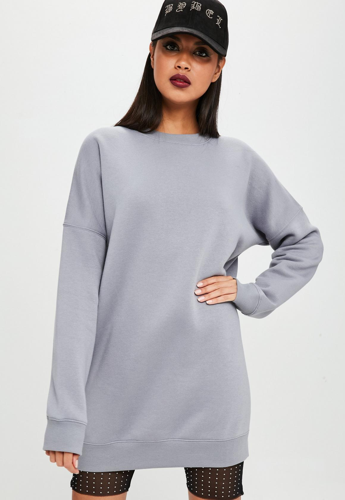 Carli Bybel x Missguided Gray Oversized Sweatshirt Dress | Missguided