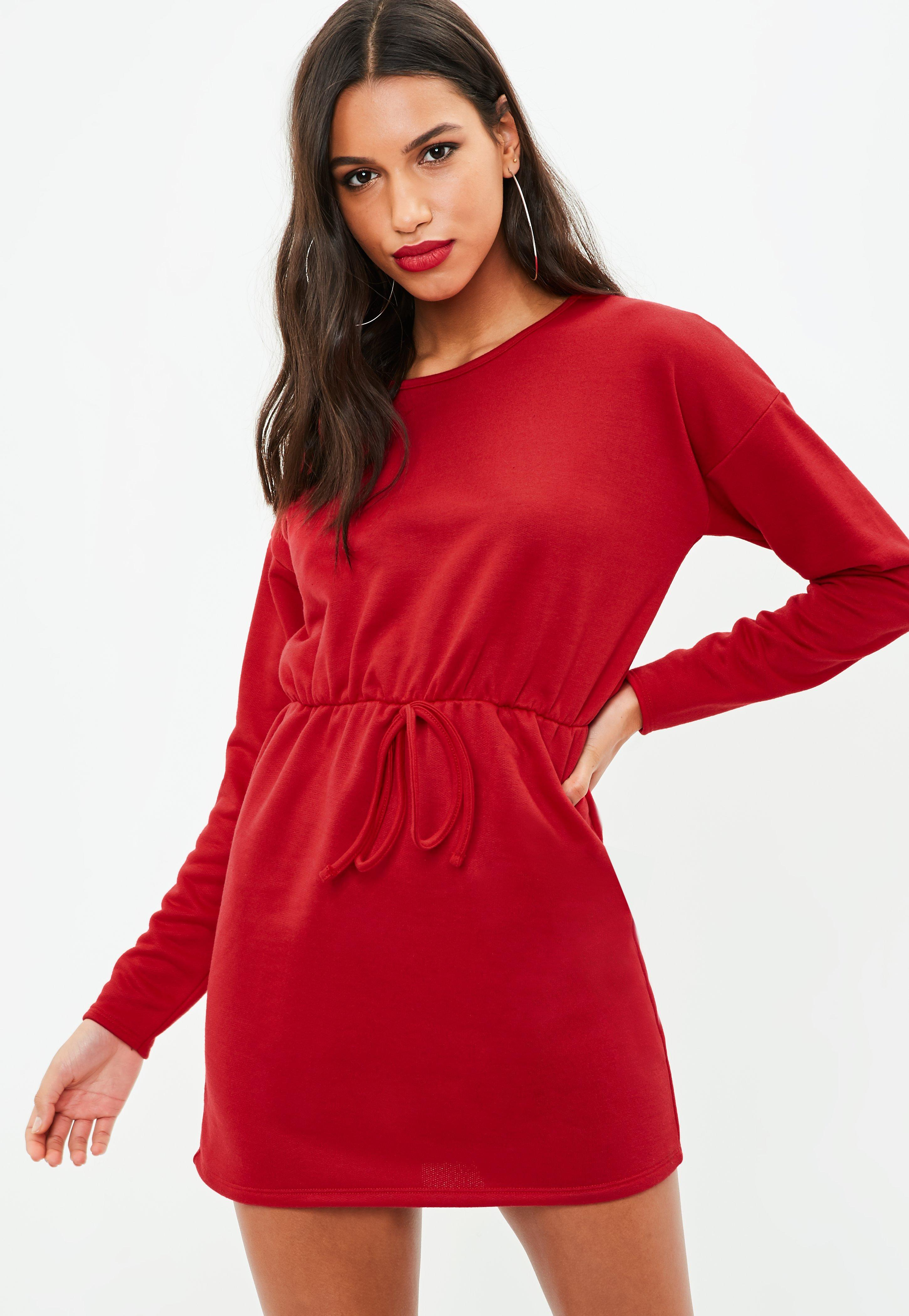 Red Long Sleeve Tie Waist Sweater Dress | Missguided Ireland