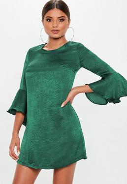 Green Satin Shift Dress