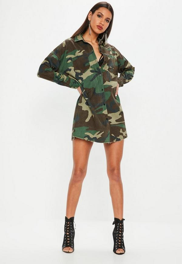 Khaki camo long sleeve shirt dress missguided for Green camo shirt outfit