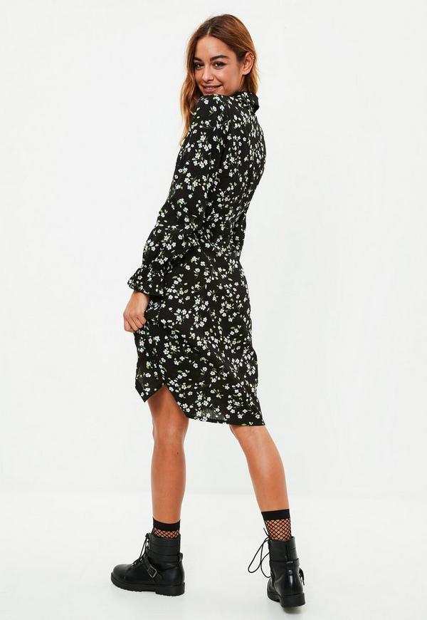 Black floral midi shirt dress missguided for Midi shirt dress black