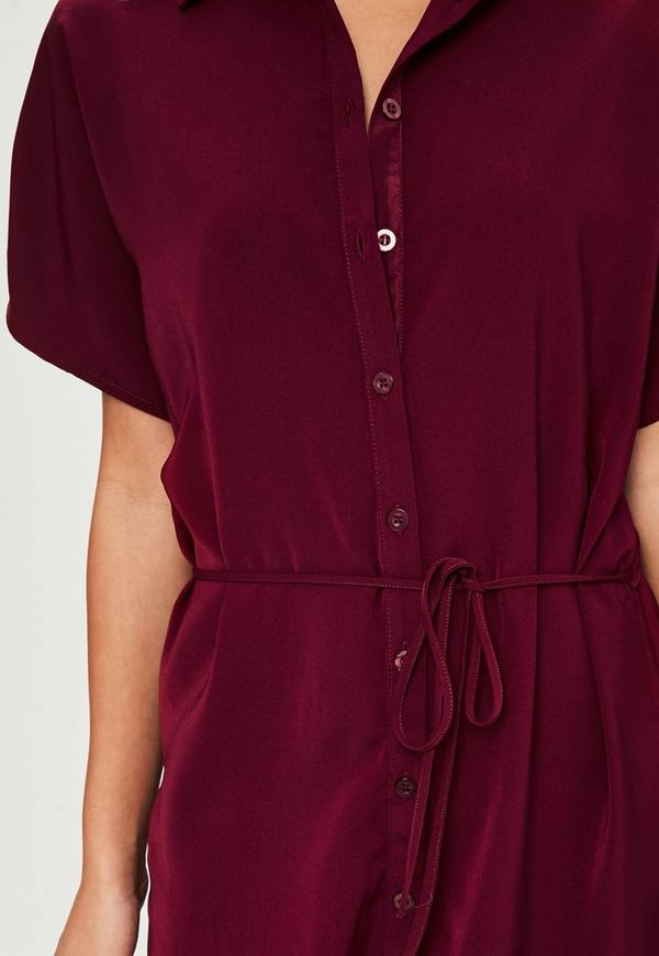 burgundy sleeve tie belt shirt dress missguided