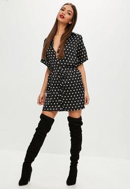 Black Polka Dot Short Sleeve Shirt Dress